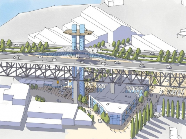 Concept sketch of Granville Bridge Elevator
