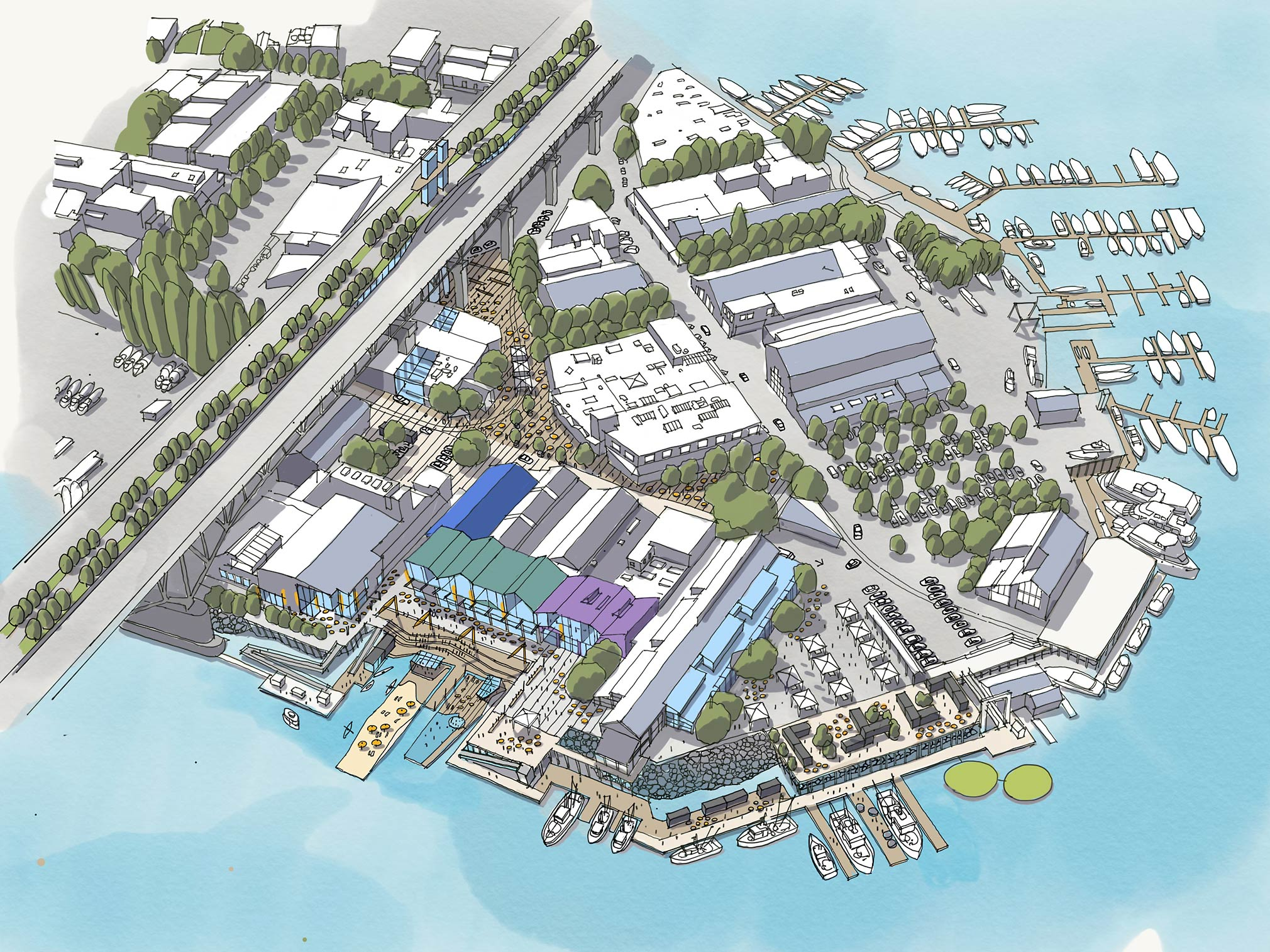 Concept sketch showing long-term vision of expanded Public Market