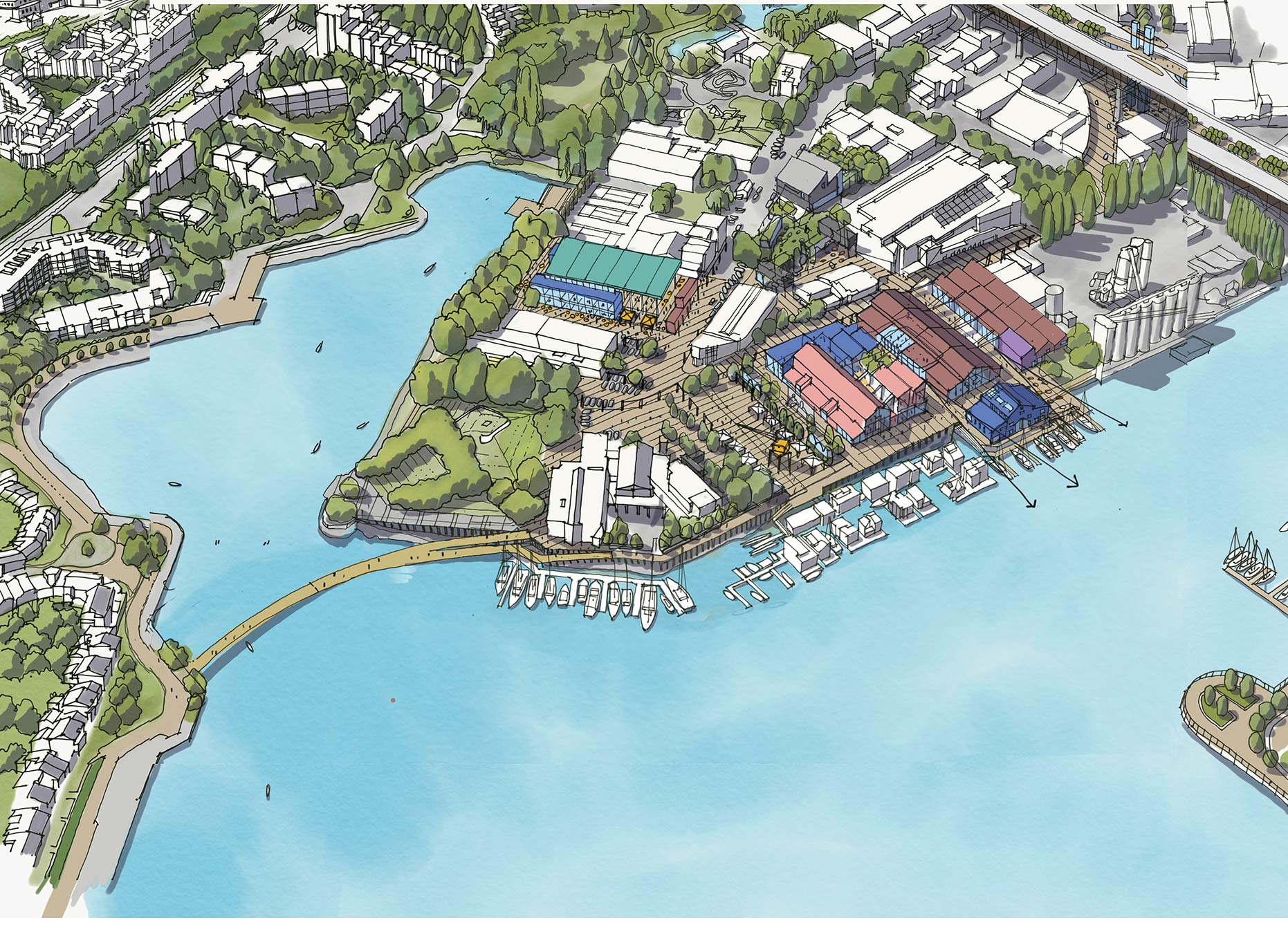 Concept sketch of proposed Alder Bay Pedestrian and Cycle Bridge