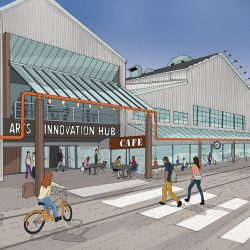 A rendering of the existing building on Granville Island as the future Arts and Innovation Hub